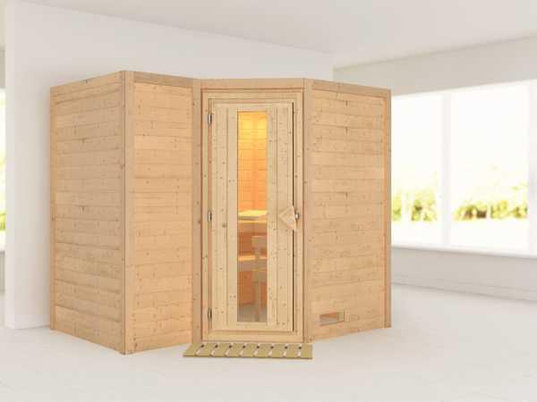 "Massivholzsauna ""Sahib 2"" Holztür mit Isolierglas"