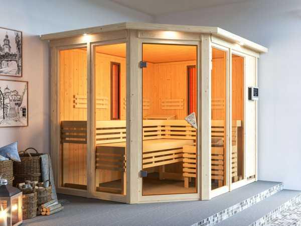 """Multifunktionssauna """"Ava"""" mit bronzierter Glastür und Dachkranz + 9 kW Saunaofen ext. Strg."""