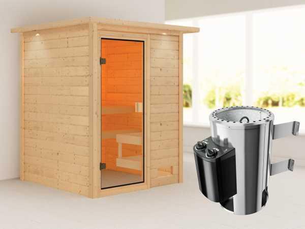 Sauna Sandra mit bronzierter Glastür und Dachkranz + 3,6 kW Plug & Play Saunaofen integr. Strg.