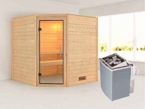 Sauna Massivholzsauna Nina Klarglas Ganzglastür + 9 kW Saunaofen mit Steuerung