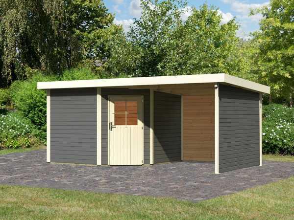 Gartenhaus SET Neuruppin 3 28 mm terragrau, inkl. 2,6 m Anbaudach + Seiten- und Rückwand