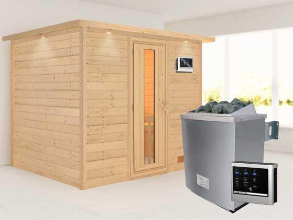 Sauna Massivholzsauna Karla mit Dachkranz, Energiespartür + 9 kW Saunaofen mit ext. Strg