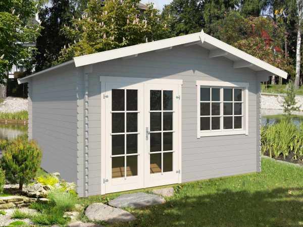Gartenhaus Blockbohlenhaus Montana 2 40 mm lichtgrau