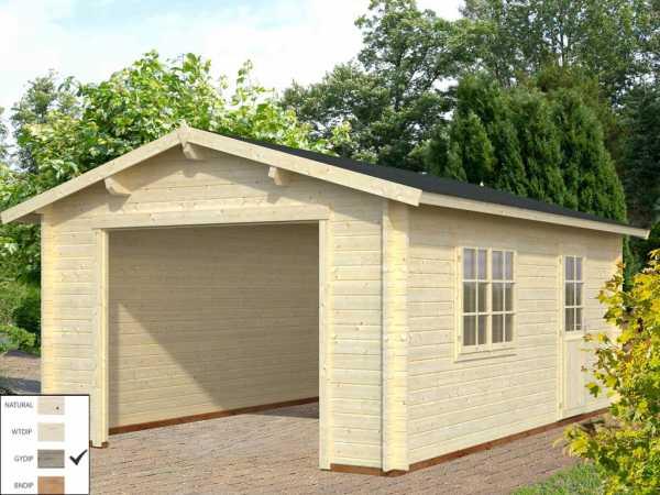 """Garage """"Roger"""" 19,0 m² ohne Tor 44 mm grau tauchimprägniert"""