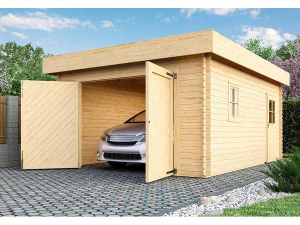 Garage Blockbohlengarage mit Tor 28 mm naturbelassen