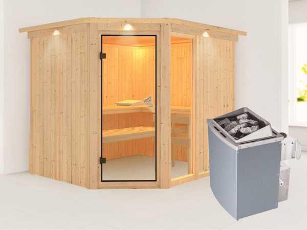 Sauna Systemsauna Fiona 3 mit Dachkranz, inkl. 9 kW Saunaofen integr. Steuerung