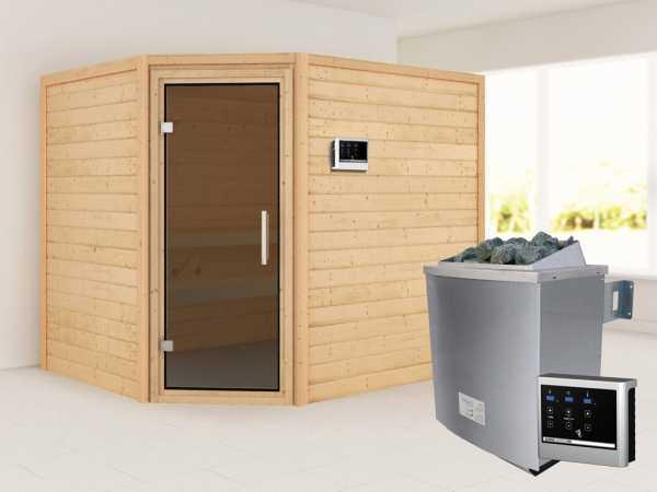 """Sauna """"Lisa"""" mit graphitfarbener Glastür + 9 kW Saunaofen ext. Strg."""