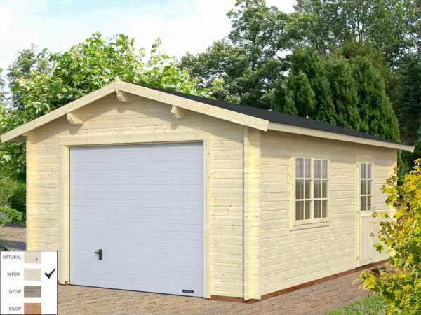 """Garage """"Roger"""" 19,0 m² mit Sektionaltor 44 mm transparent tauchimprägniert"""