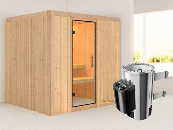 Sauna Systemsauna Daria Klarglas Ganzglastür + Plug & Play Saunaofen mit Steuerung