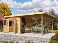 Gartenhaus SET Kerpen 3 CLASSIC 28 mm naturbelassen, inkl. 3,2 m Anbaudach