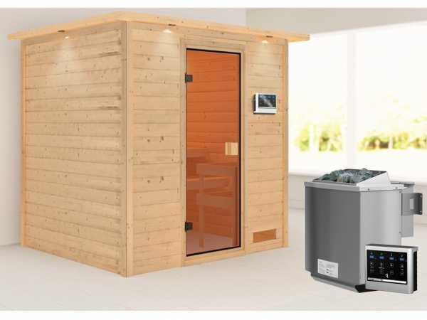 Sauna Adelina mit bronzierter Glastür und Dachkranz + 9 kW Bio-Kombiofen ext. Strg.