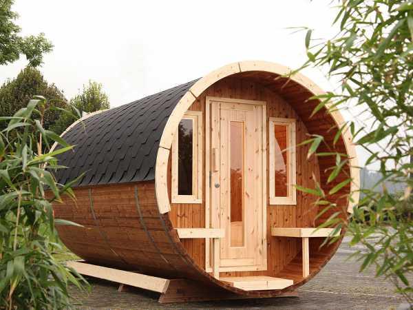 """Campingfass """"480 2-Raum"""" naturbelassen, als Bausatz, inkl. Dachschindlen schwarz"""