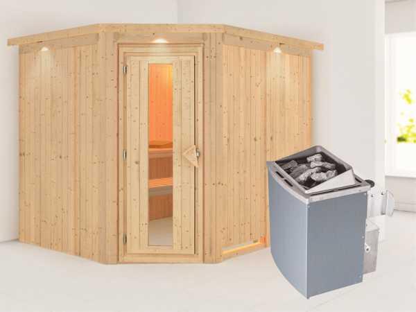 Systemsauna Malin mit Dachkranz, Holztür mit Isolierglas, inkl. 9 kW Saunaofen integr. Steuerung