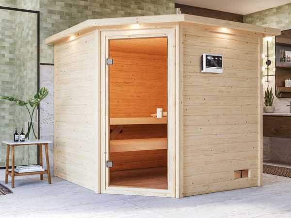 """Sauna """"Tilda"""" mit bronzierter Glastür und Dachkranz + 9 kW Bio-Kombiofen ext. Strg."""