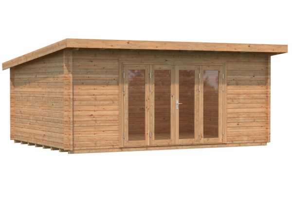Gartenhaus Blockbohlenhaus Lea 19,4 m² 44 mm braun tauchimprägniert