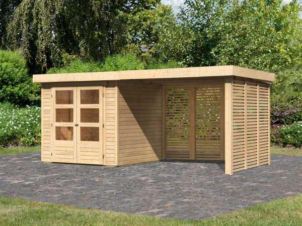 Gartenhaus SET Askola 2 19 mm naturbelassen, inkl. 2,8 m Anbaudach + Lamellenwänden
