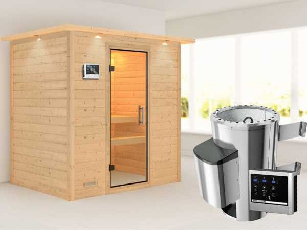 Sauna Massivholzsauna Ronja mit Dachkranz, Klarglas Ganzglastür + Plug & Play Ofen mit ext. Strg