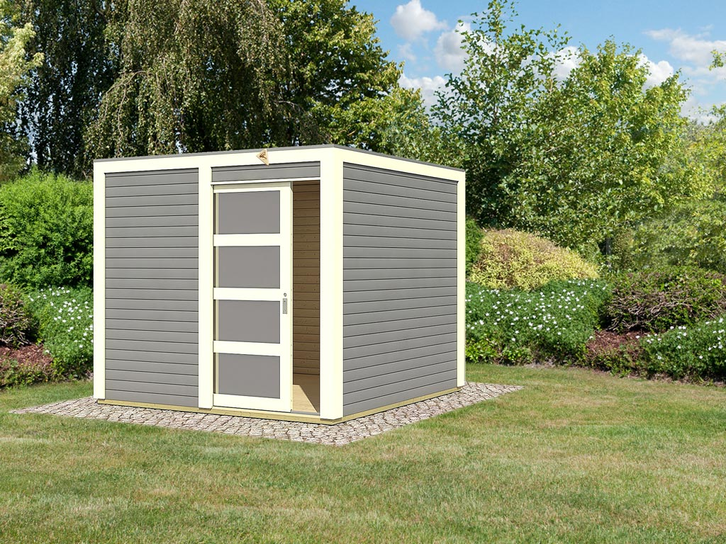 gartenhaus sparset cubini 19 mm terragrau inkl 2 x. Black Bedroom Furniture Sets. Home Design Ideas