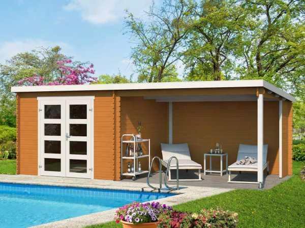 Gartenhaus Blockbohlenhaus Novia Plus 28 mm eiche