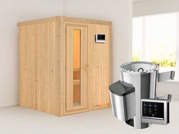 Sauna Systemsauna Minja Energiespartür + Plug & Play Saunaofen mit externer Steuerung