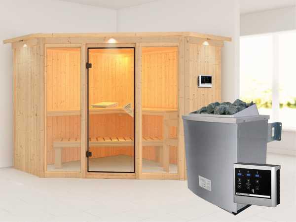 """Sauna Systemsauna """"Flora 2"""" mit Dachkranz, inkl. 9 kW Saunaofen ext. Steuerung"""