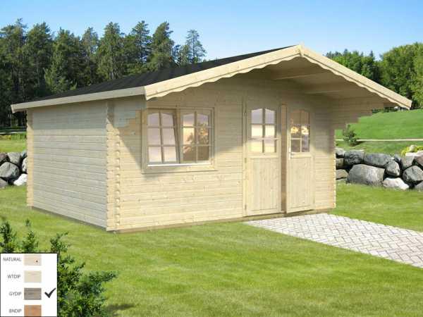 Gartenhaus Blockbohlenhaus Sally 15,5 m² 44 mm grau tauchimprägniert