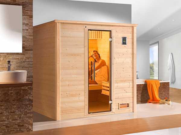 Sauna Massivholzsauna Bergen 3 mit graphit Glastür
