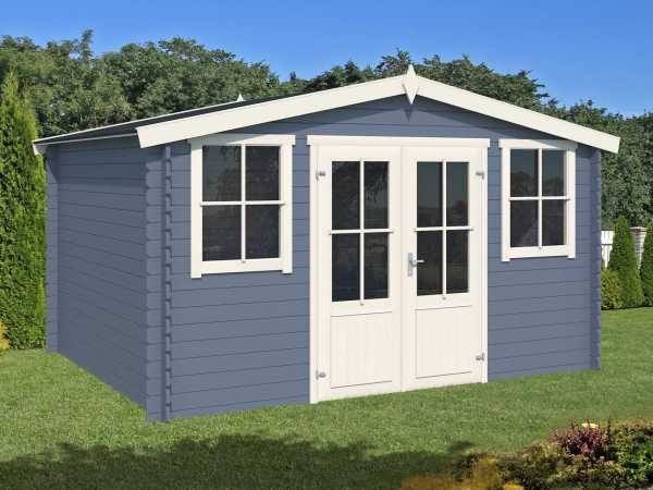 Gartenhaus Blockbohlenhaus Dallas 28 mm taubenblau