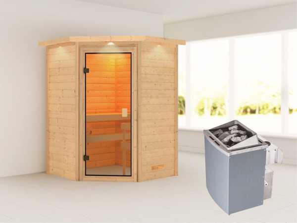 """Sauna """"Antonia"""" mit bronzierter Glastür und Dachkranz + 9 kW Saunaofen integr. Strg."""