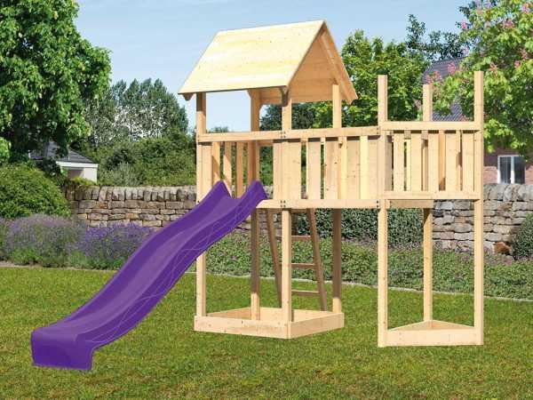 Spielturm SET Lotti naturbelassen inkl. Rutsche violett + Anbauplattform + Schiffsanbau oben