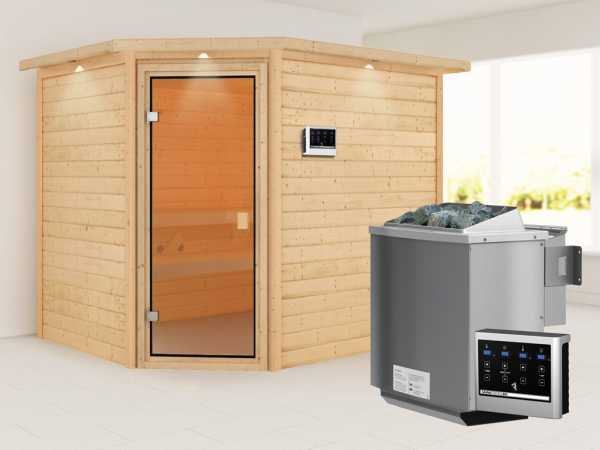 """Sauna """"Lisa"""" mit bronzierter Glastür und Dachkranz + 9 kW Bio-Kombiofen mit ext. Strg."""
