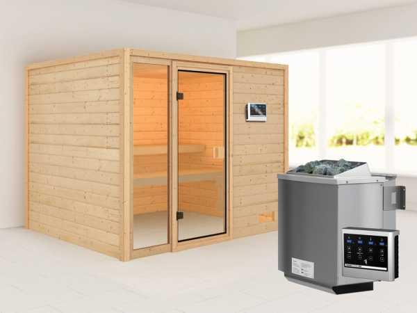 """Sauna """"Kiana"""" mit bronzierter Glastür + 9 kW Bio-Kombiofen ext. Strg."""