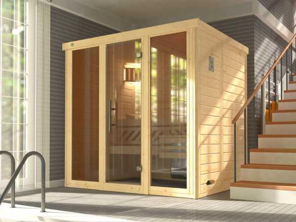 Sauna Massivholz-Elementsauna Kemi Panorama 2 inkl. Saunaofen BioS 7,5 kW + externer Steuerung
