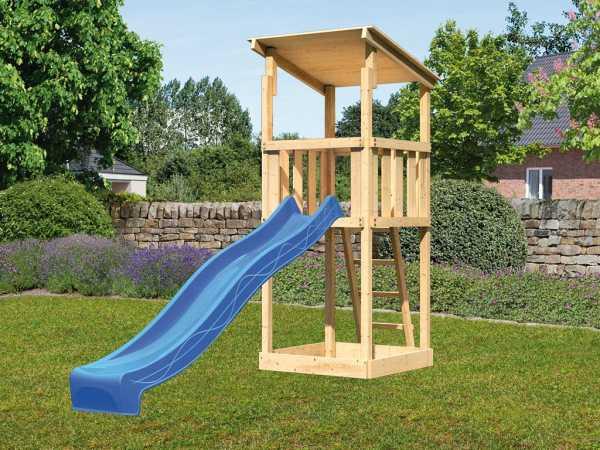 Spielturm SET Anna naturbelassen inkl. Rutsche blau