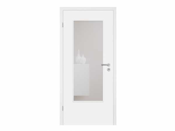 Zimmertür Alba mit Lichtausschnitt Weißlack RAL 9010, Eckkante