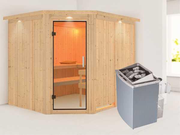 Sauna Systemsauna Malin mit Dachkranz, Klarglas Ganzglastür + 9 kW Saunaofen mit Steuerung