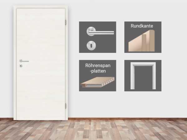 Türenset CPL Touch Whiteline Türblatt, Zarge, Drückergarnitur