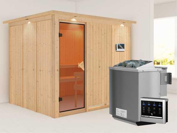 Systemsauna Gobin mit Dachkranz, bronzierte Ganzglastür, inkl. 9 kW Bio-Kombiofen ext. Steuerung