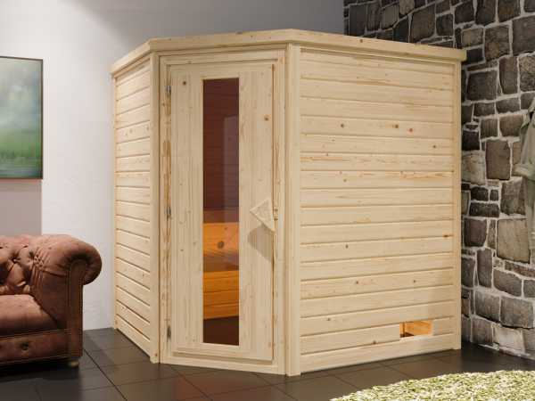 """Sauna Systemsauna """"Bergen 4"""" Holztür mit Isolierverglasung inkl. 9 kW Saunaofen mit ext. Steuerung"""