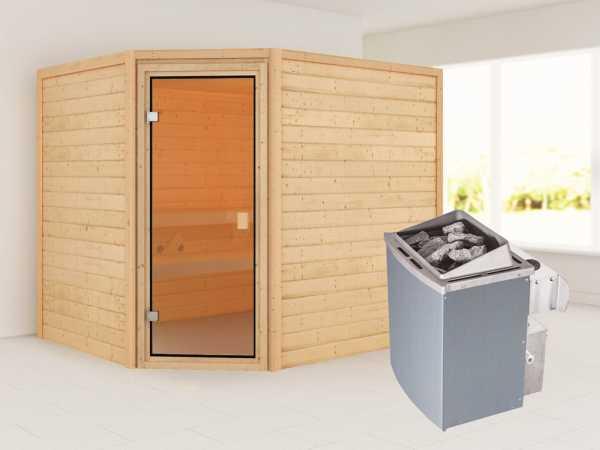 """Sauna """"Lisa"""" mit bronzierter Glastür + 9 kW Saunaofen integr. Strg."""