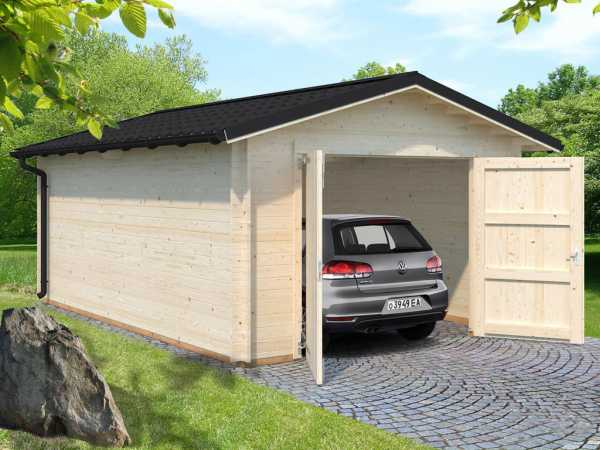 "Garage ""Tomas"" 19,2 m² mit Holztor 34 mm naturbelassen"