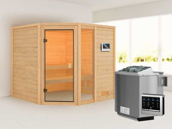 Sauna Tabea mit bronzierter Glastür + 9 kW Bio-Kombiofen ext. Strg.