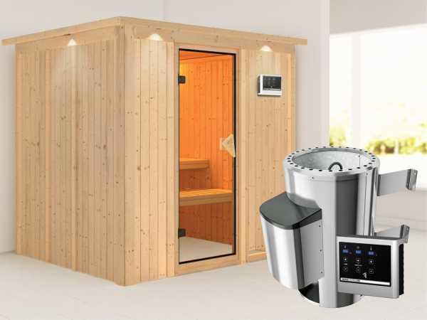 Sauna Systemsauna Daria mit Dachkranz, inkl. Plug & Play Saunaofen externe Steuerung