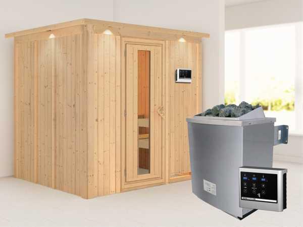 """Systemsauna """"Sodin"""" mit Dachkranz, Holztür mit Isolierglas, inkl. 9 kW Saunaofen ext. Steuerung"""