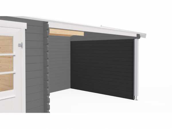 Seitenwand 28 mm für Gartenhäuser Blockbohlenhäuser carbongrau