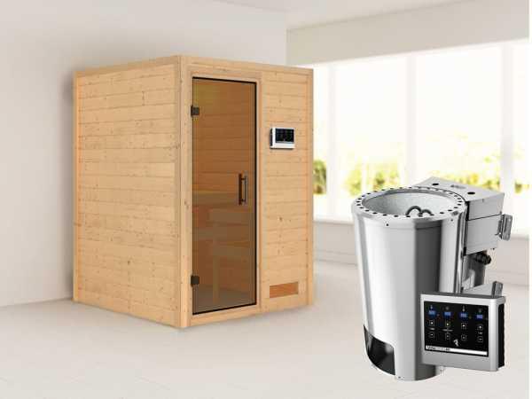 Sauna Massivholzsauna Nadja graphit Ganzglastür + Plug & Play Bio-Ofen mit externer Steuerung