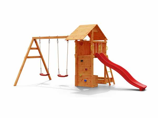 Spielturm SPARSET Smart 4 inkl. 2,28 m Rutsche rot, teakfarben