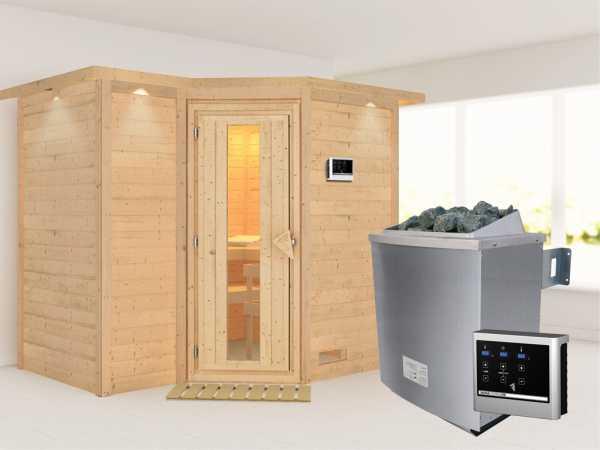 """Massivholzsauna """"Sahib 2"""" mit Dachkranz, Holztür mit Isolierglas, inkl. 9 kW Ofen ext. Steuerung"""