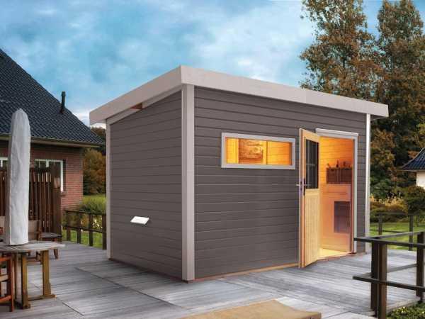Saunahaus Suva 2 Grau mit Holztür & Vorraum, inkl. 9 kW Saunaofen mit externer Steuerung