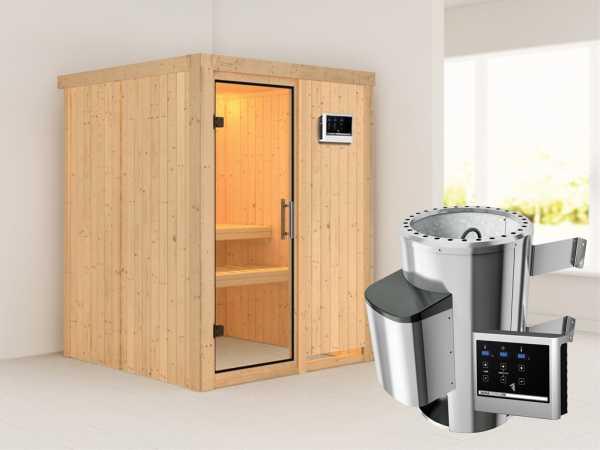 Sauna Systemsauna Minja Klarglas Ganzglastür + Plug & Play Saunaofen mit externer Steuerung